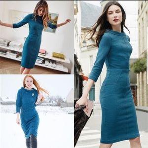 Boden 14L Dress Blue MARISA Ottoman Boat Neck
